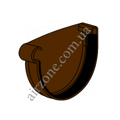 Заглушка желоба 90мм, левая, коричневая