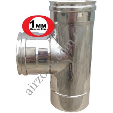 Трійник з нержавіючої сталі 150мм  87⁰ / сталь 1мм /