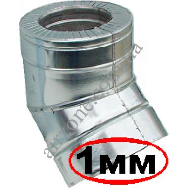 Відвід (коліно) сендвіч 160/220мм 45⁰ нержавійка в оцинковці / сталь 1мм /