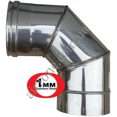 Відвід з нержавіючої сталі 120мм - 90⁰ (сталь 1мм)