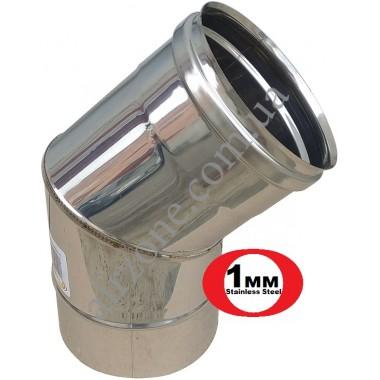 Відвід з нержавіючої сталі 180мм - 45⁰ (сталь 1мм)