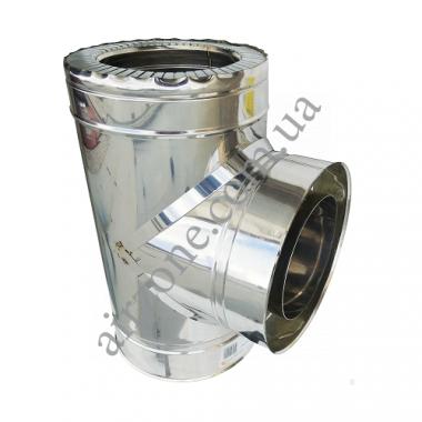 Трійник сендвіч 110/180 мм нержавійка в нержавійці з відводом 87⁰ / сталь 0,5мм /
