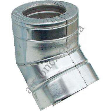 Відвід (коліно) сендвіч 120/180мм 45⁰ нержавійка в оцинковці / сталь 0,5мм /