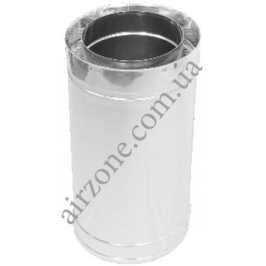 Труба сендвіч (утеплена) нержавійка в нержавійці 120/180мм  / 0,5метра / сталь 1мм