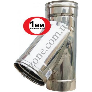 Трійник з нержавіючої сталі 160мм  45⁰ / сталь 1 мм /