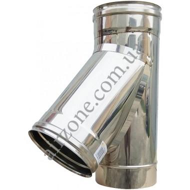Трійник з нержавіючої сталі 100мм  45⁰ / сталь 0,5мм /