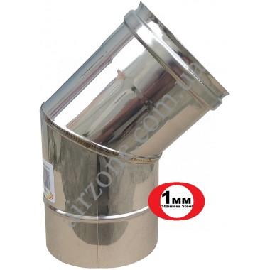 Відвід з нержавіючої сталі 110мм - 45⁰ (сталь 1мм)