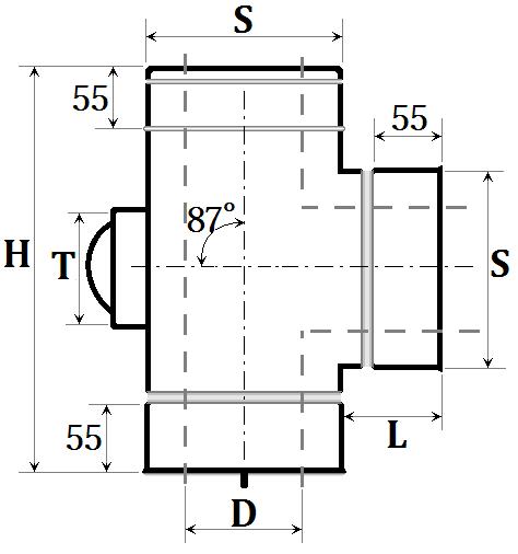 Розміри трійник-ревізія сендвіч димохід