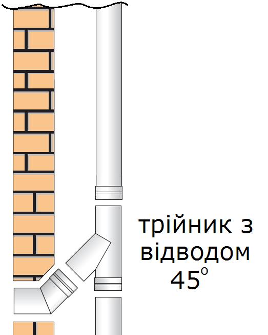 трійник на димохід з відводом 45 градусів