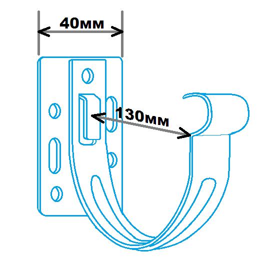 Кронштейн ринви метал 130мм, розміри