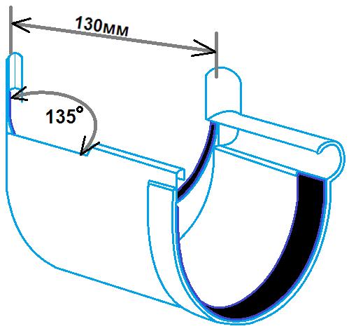 кут ринви внутрішній 135 градусів, 130мм, розміри