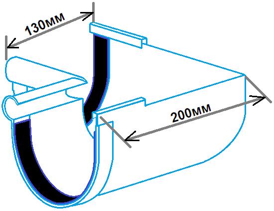 кут ринви внутрішній 90 градусов, 130мм, розміри
