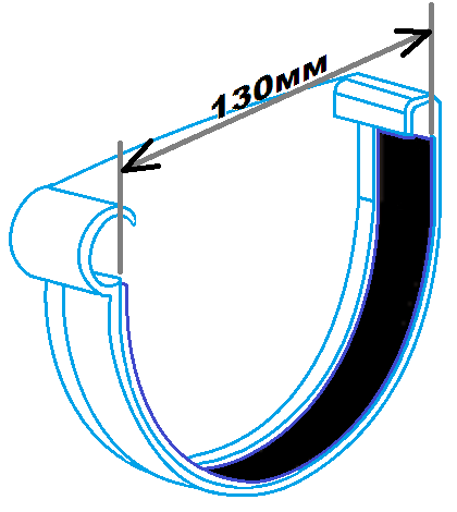 Заглушка ринви 130мм ліва, розміри