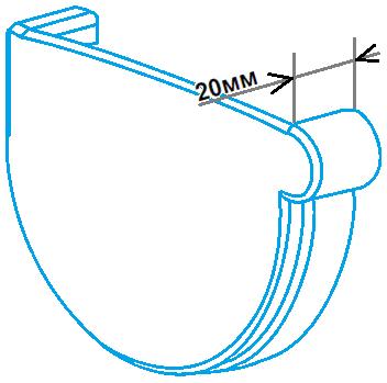 Заглушка ринви 90мм ліва, розміри