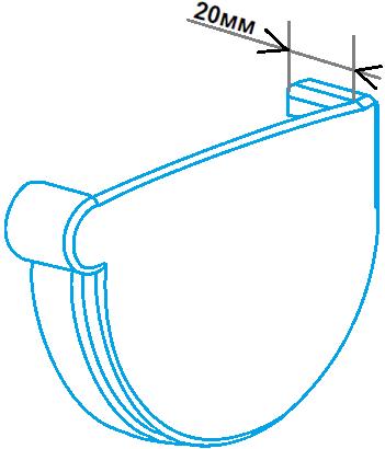 Заглушка ринви 90мм права, розміри